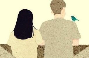 pareja de espaldas pensando en cambiar de opinión sobre su relación