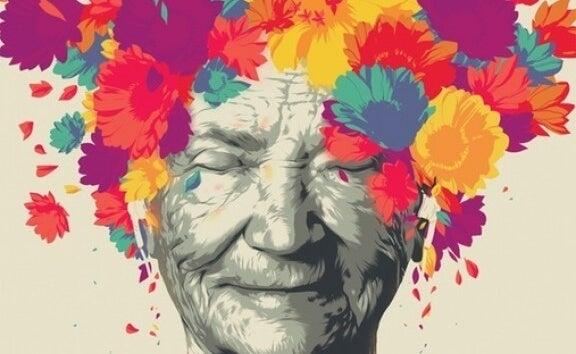 anciana envuelta en colores simbolizando la inteligencia y sabiduría