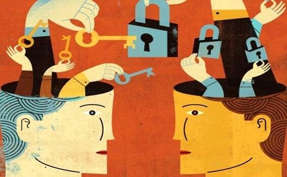 cabezas con candados la simulando la rigidez psicológica