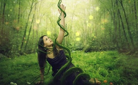 chica atrapada en el bosque como efecto de los debería