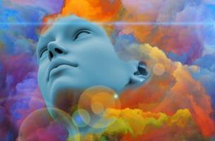 figura envuelta en colores representando la ansiedad patológica
