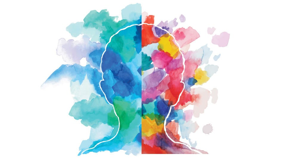 rostro envuelto en colores representando los test de personalidad