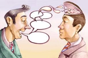 Hombre hablando a otro enviando ideas a su mente para representar el efecto de adormecimiento