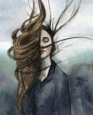 Chica con el pelo suelto pensando en las consecuencias de la venganza