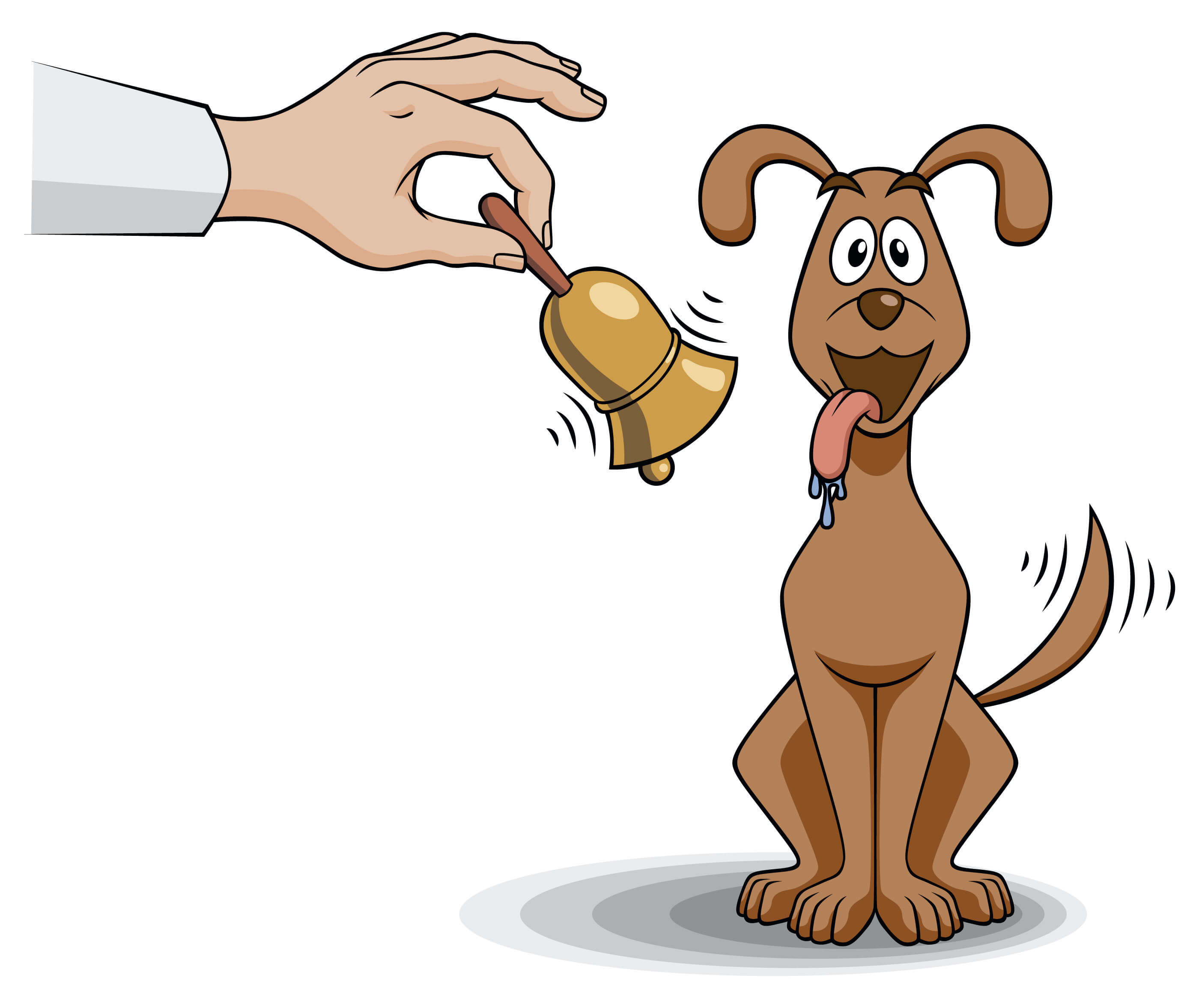 Mano con campana y perro