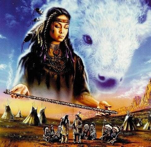 la mujer del búfalo blanco ofreciendo la pipa de la paz