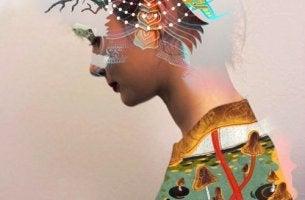 mujer con figuras geométricas en la cabeza representando cómo gestionar las emociones
