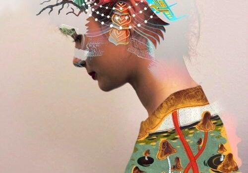 mujer con figuras geométricas en la cabeza representando las frases de Zenón de Citio
