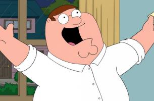 Peter Griffin con ticket en la mano para representar la obesidad en la televisión