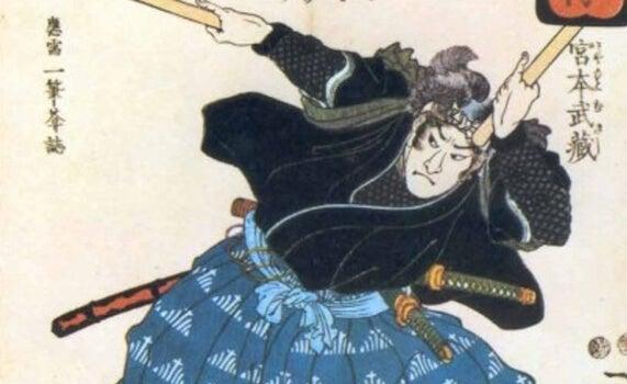 ilustración representando la historia del samurái y el pescador