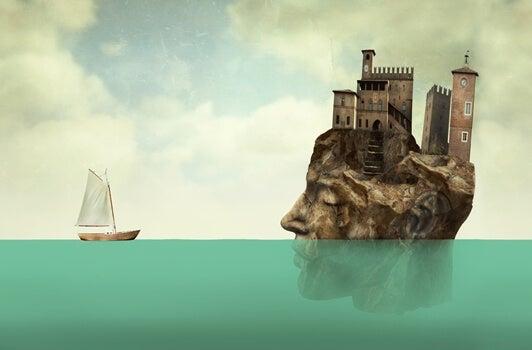 rostro con edificios ante un barco pensando en la importancia de no dejar las cosas sin terminar