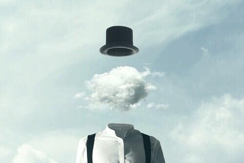Hombre con una nube en su cabeza