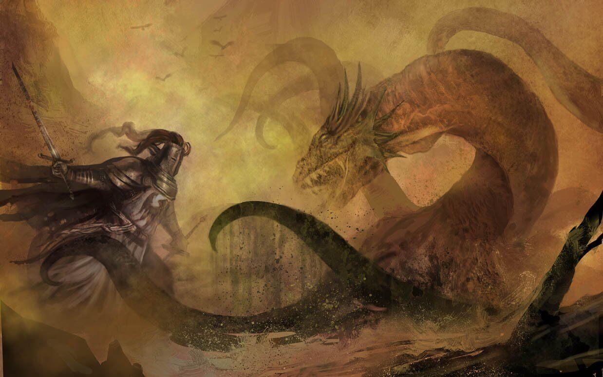hombre luchando contra dragón representando las frases del libro El caballero de la armadura oxidada