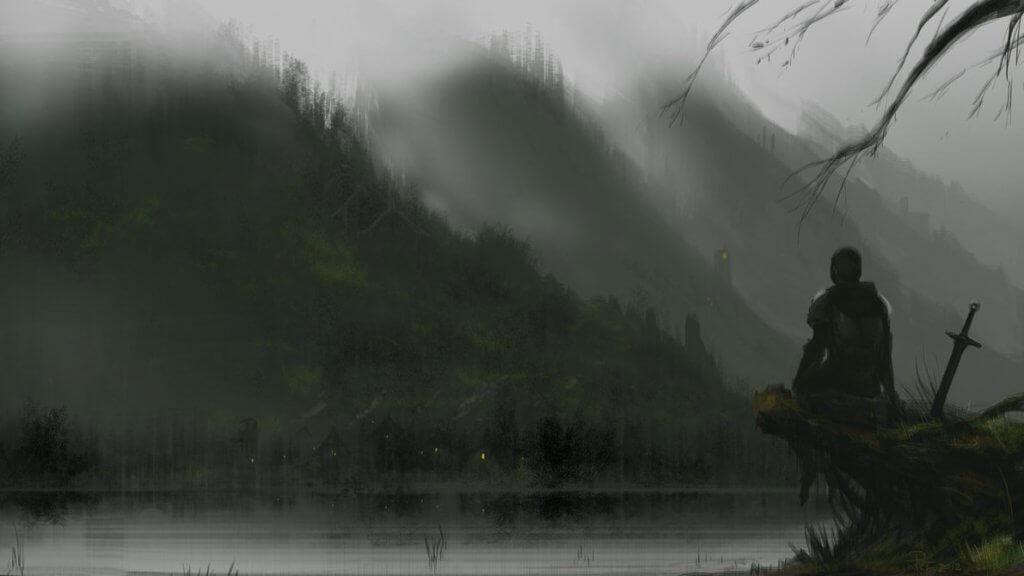 Caballero en un lago