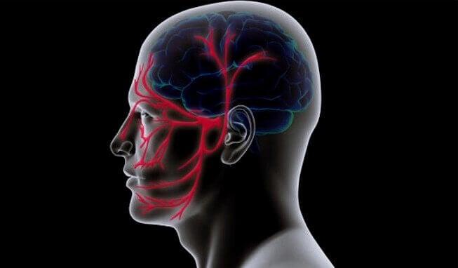 Cabeza representando la neuralgia del trigémino
