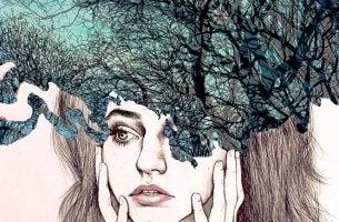 chica con bosque en la cabeza que trabaja en su higiene mental