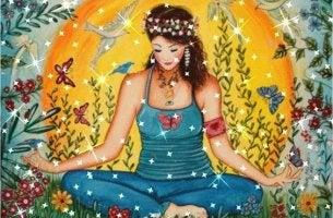 chica en posición de loto representando las frases contra la violencia