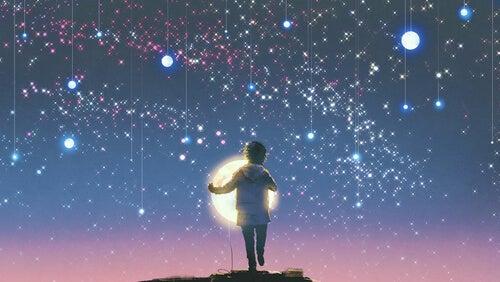 Chico con estrellas y luz