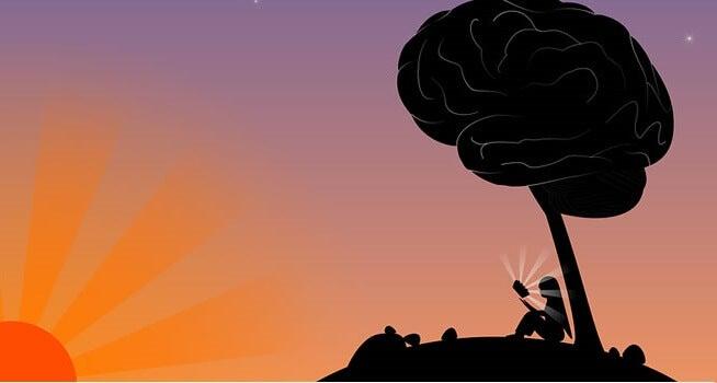 niña bajo árbol en forma de cerebro simbolizando la inteligencia y sabiduría