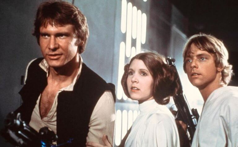 Han Solo, Leia y Luke Skywalker