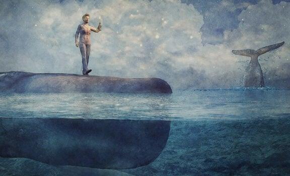 hombre sobre ballena representando los mitos sobre el sonambulismo