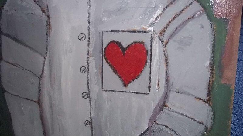 corazón en cuerpo de hojalata representando la carencia afectiva