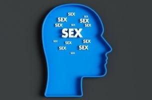 Mente de un hombre con la palabra sexo para representar la satiriasis