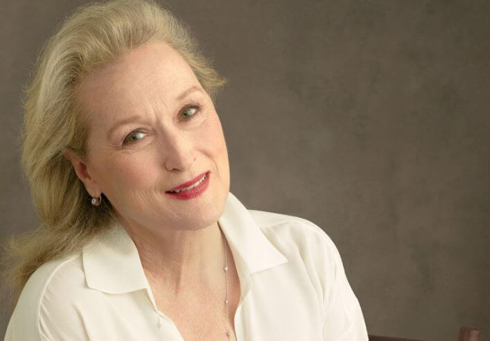 Meryl Streep con camisa blanca