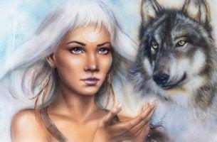 Mujer chamán con lobo