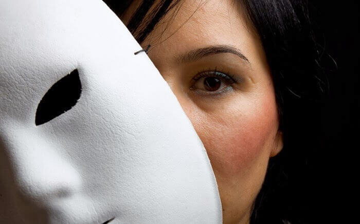 Woman with a mask.