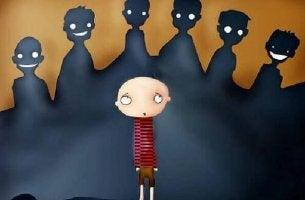 Niño víctima de acoso escolar