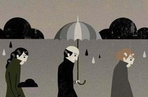 Personas grises para representar los síntomas de depresión