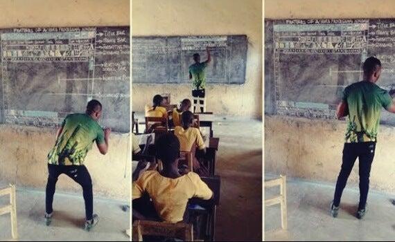 Actitud e inspiración: el profesor de Ghana que enseña informática con tiza y pizarra