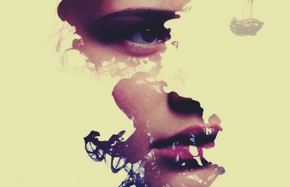 rostro fragmentado representando las frases de Virginia Woolf