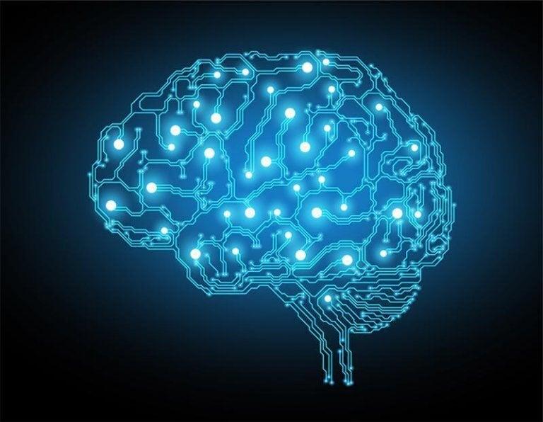 Cerebro iluminado de azul
