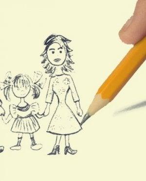 persona llevando a cabo el test del dibujo de la familia