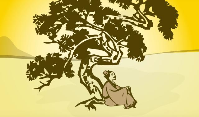 hombre bajo un árbol simbolizando una fábula japonesa