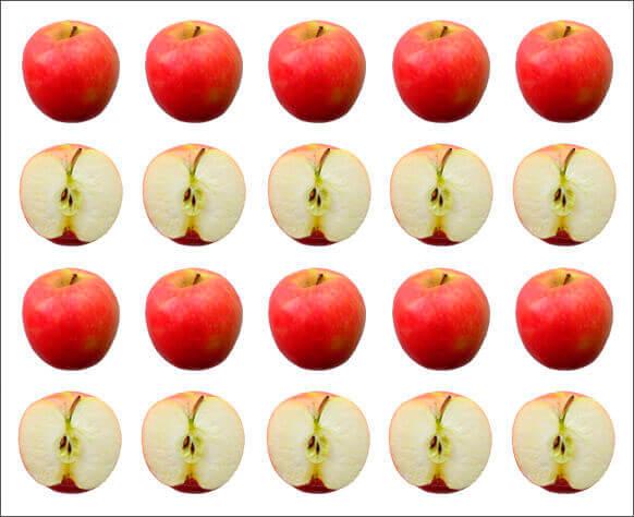 Manzanas enteras y medias