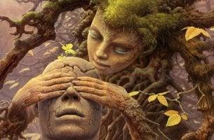 mujer árbol representando la eudaimonía
