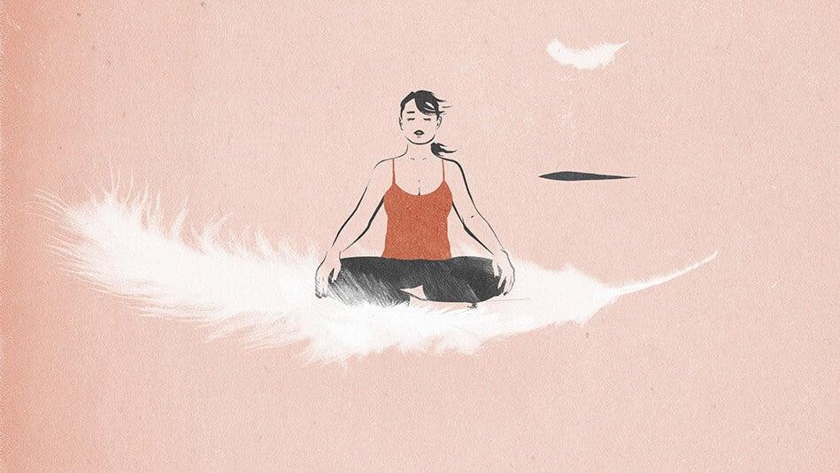 mujer sobre una pluma representando el sal de tu mente