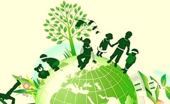 niños en planeta verde simbolizando la educación en valores