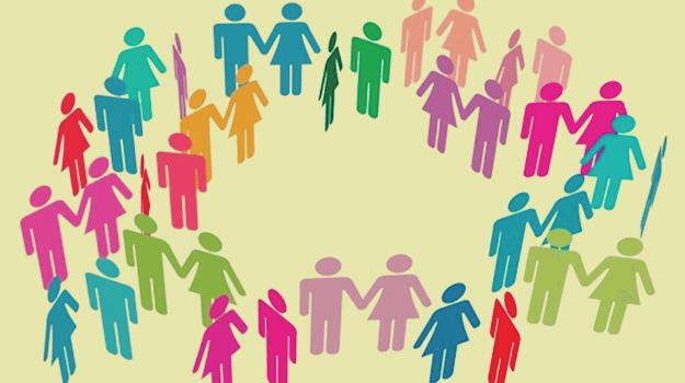 Personas en círculo para representar el espacio personal entre ellas