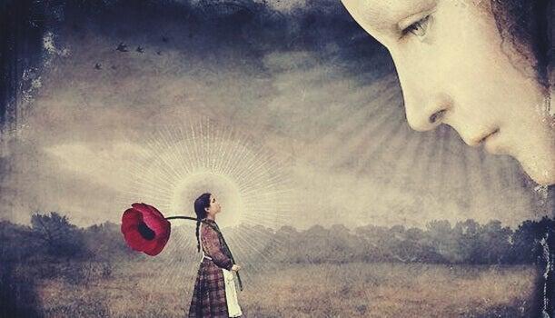 Rostro observando a una niña con una flor gigante