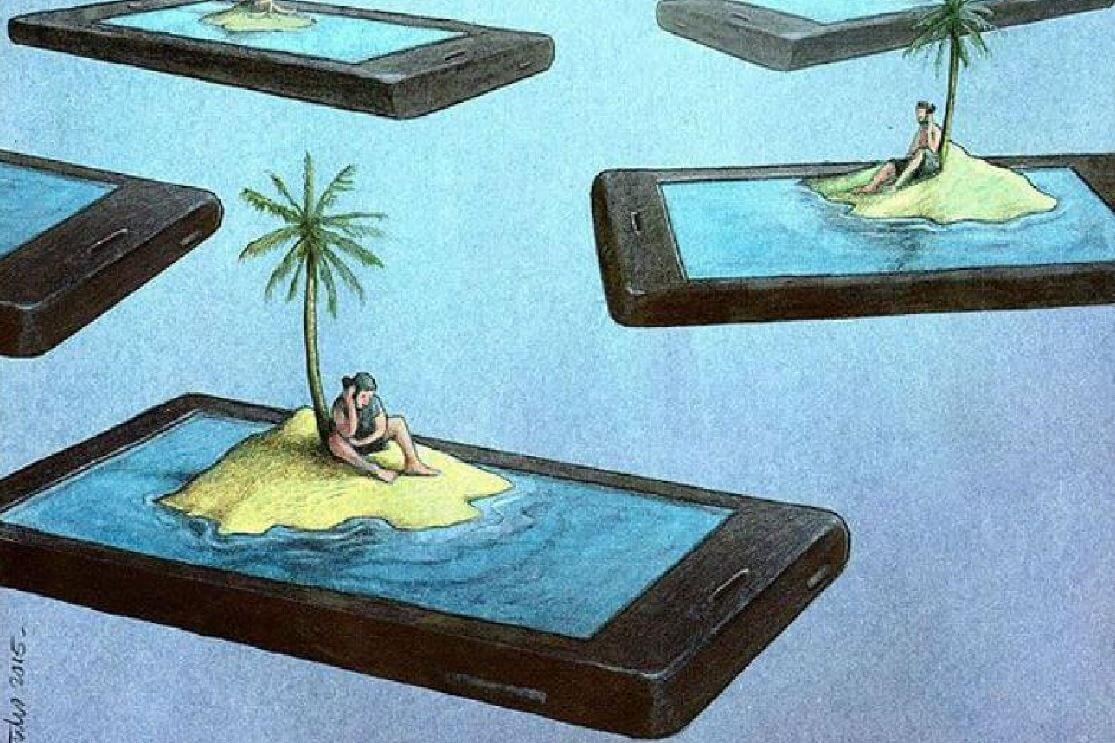 PErsonas aisladas en su teléfono