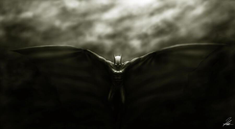 Batman con capa extendida