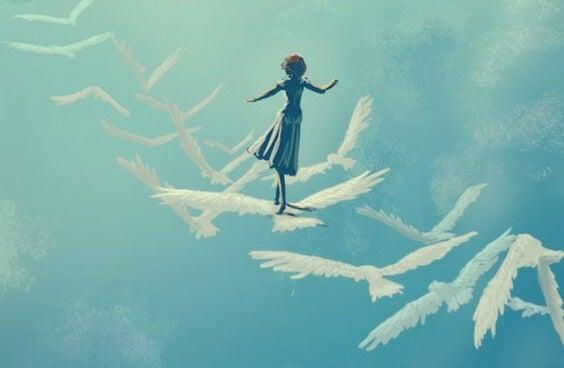 niña sobre pájaros afrontando el hecho de que el miedo nunca va a desaparecer