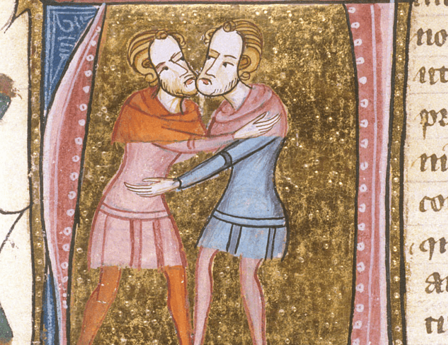 Dos hombres abrazados para representar la adelfopoiesis