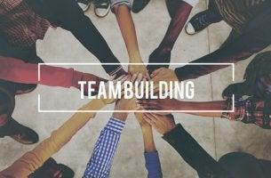 Manos de trabajadores unidas para representar la eficacia del team building