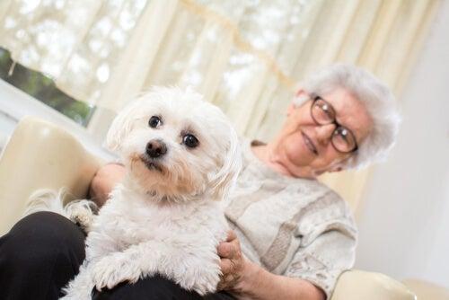 Mujer con Alzheimer con un perro
