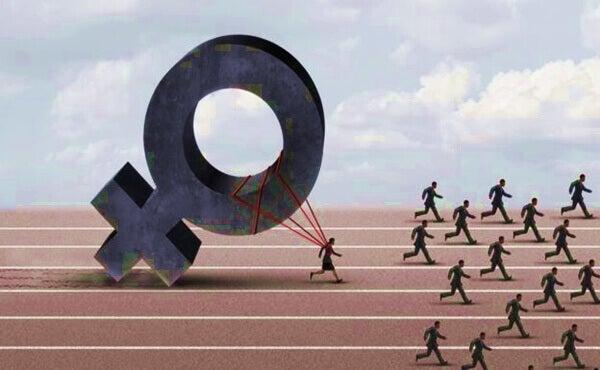 Mujer atada a su símbolo corriendo detrás de muchos hombres